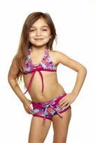 Submarine Very Cool 2pc Tankini Swimsuit Turq & Pink Roses & Skulls