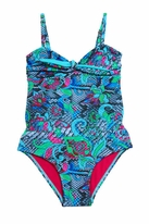 Submarine Beautiful Turquoise Snake Print 1pc Swimsuit 10 Cut Small