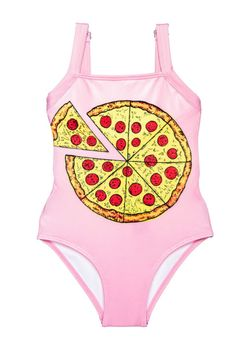 Submarine Swimsuit 1pc Yummy Pink Pizza Girls Swimsuit  6 8
