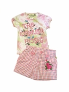 Lipstik Adorable 2pc Tye Dye Beaded Tee & Pink Gingham Embr Shorts 2T