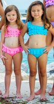 To the 9's Malibu Turquoise Gliitter Ruffle 2pc Little Girls Swimsuit 6