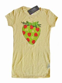 Troo Yellow Strawberry Burnout Tee Shirt 7/8 10