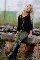 Tru Luv Black Tween Top w/Gold Grommets 14 *Top Seller*