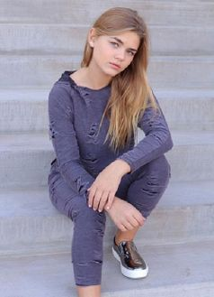 Tru Luv Tween 2pc Charcoal Distressed Hoodie & Jogger Pants 8 12