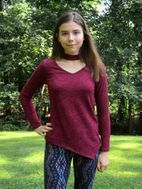 Tru Luv Tween Girls Burgundy Color Assymetric Top 7 8 10