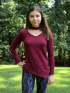 Tru Luv Tween Girls Burgundy Color Assymetric Top * Top Seller*