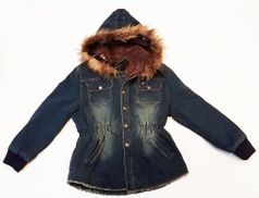 TRU LUV Warm Denim jacket w/faux Fur Hood & Lining 8