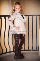Tru Luv Beige Faux Leather & Fur Trim Warm Girsl Jacket  12