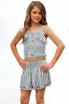 Truly Me 2pc Striped Smocked Top & Ruffle Shorts Tween