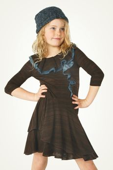 Truly Me by Hannah Banana Ruffle Hem Chocolate & Blue Dress sz 5/4