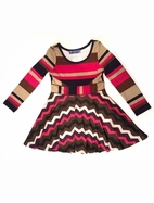 Truly Me by Hannah Banana Fun Chevron Skater Dress sz 5