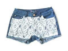 Truly Me by Hannah Banana  lace front Denim Tween Shorts  12