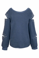 Truly Me  Denim Blue Tween Sweater Top w/Cut-outs 8