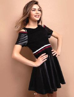 Truly Me Trendy Fit & Flare Tween Girls Pleather Dress