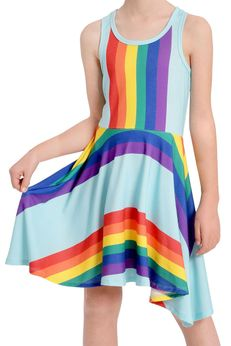 Truly Me Girls Rainbow Stripes Hi Lo Dress *Top Seller* 10 14 16