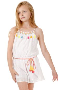 Truly Me Girls White Eyelet Romper w/Colorful Tassles  Pre-order