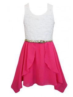 Truly Me Hot Pink & Ivory Belted Hi Lo Party Dress  16 last 1