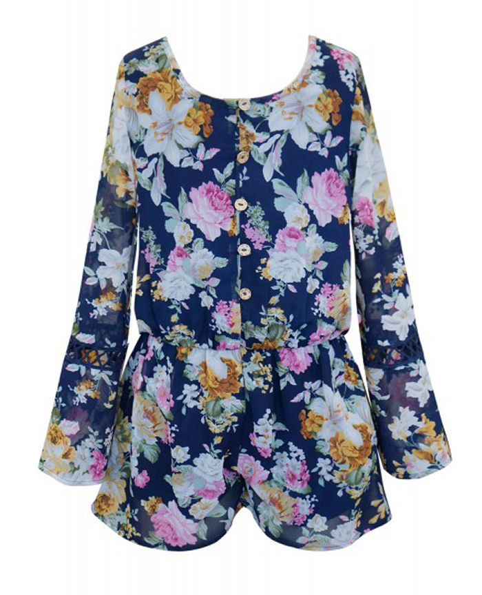 67007b674462 Truly Me Navy Floral Long Sleeves Tween Romper 8 - Semi-Annual Clearance