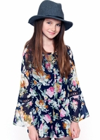 Truly Me Navy Floral Long Sleeves Tween Romper  8