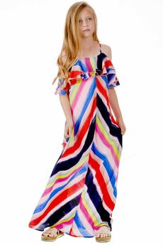 Truly Me Ruffle off Shoulder Colorful Maxi Dress Pre-order