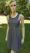 Truly Me Gorgeous Black & White Stripes Skater Dress  14 16