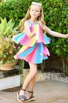 Truly Me Stunning Rainbow Pleated Girls Dress 8 16