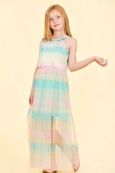 Truly Me Tween Rainbow Colors Beautiful Pleated Maxi Dress Pre-order