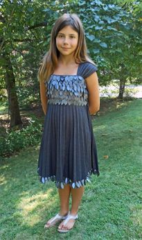 Turo Parc Incredible Silver Grey Plisse Tween Dress w/Petal Bodice  7