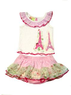 """Twirls & Twigs """"Pirhouettes in Paris"""" 2pc baby Girl Skirted Outfit 3/6m Newborn"""