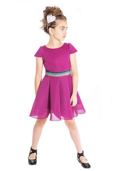 Zoe Ltd Berry Color Stunning Girls Skater Dress w/Colorful belt