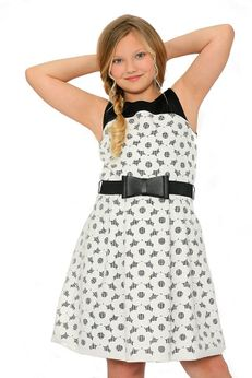 Zoe Ltd Black & Ivory Scuba Daisy Bow Belt Tween Dress 10 12 16