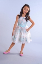 Zoe Ltd Elegant Embroidered Organza Tween  Dress 12 lk 10
