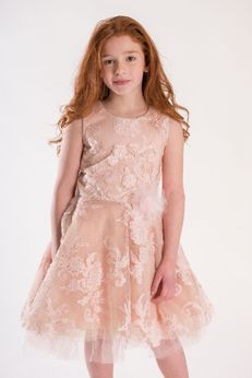 Zoe Ltd Savannah Embelished Tulle Blush & Gold Shimmery Tween Dress