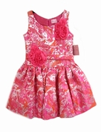 Zoe Ltd Coral Brocade Special Occasion Girls Dress w/Rosettes sz 8 *Top seller*