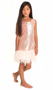 Zoe Ltd Mermaid Sequin Blush Pink Tween Dress 14 last 1