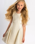 Zoe Ltd Lexie Sleeveless Gold & Ivory Netted Mesh Fit-and-Flare Dress 16