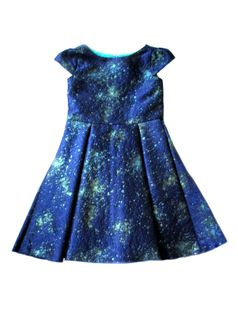 "Zoe Ltd ""Mystic Blues"" Celestial Sparkle Navy & Green Girls Dress 10"