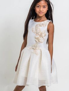 Zoe Ltd Parker Gold Tween Dress w/Gold Embroidery  14 Last 1