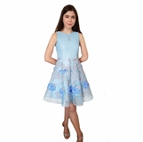 177993ce5 Zoe Ltd Sky Blue & beige Embr. Scuba Mesh Tween Girls Dress 10 14