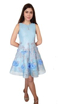 Zoe Ltd Sky Blue & beige Embr. Scuba Mesh Tween Girls Dress 10 14