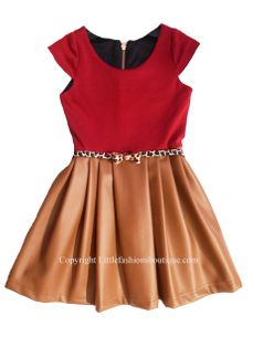 Zoe Ltd Tween Dress Pleather Skirt Beautiful Fall Colors 10 lk 8