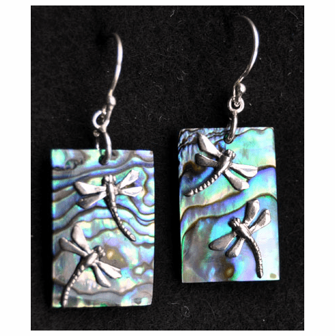 Abalone Dragonfly Earrings