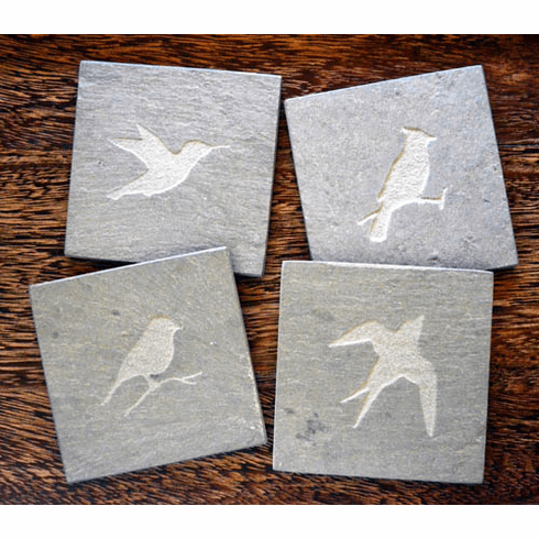 Bird Slate Coasters, Set of 4