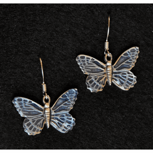 Blue Butterfly Pewter Earrings