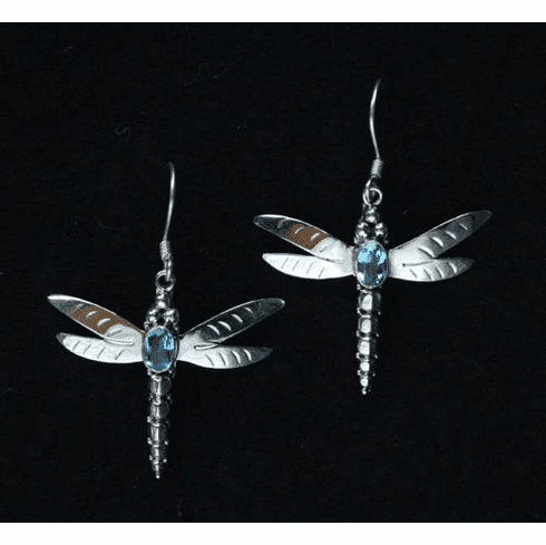 Blue Topaz Dragonfly Earrings