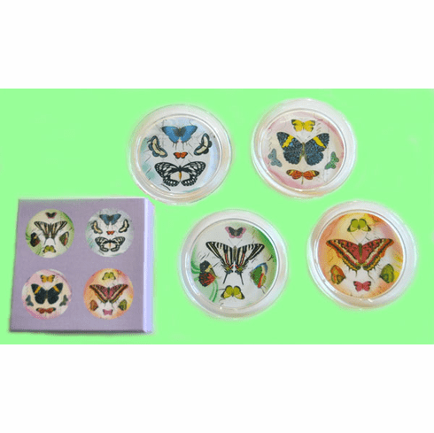 Butterfly Glass Coasters, Set/4