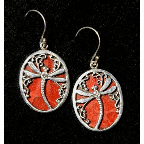 Coral Dragonfly Earrings