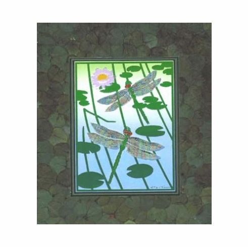 'Flight of Dragonflies' with Handmade Eucalyptus Leaf Mat