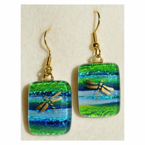 Golden Dragonflies Art Glass Earrings