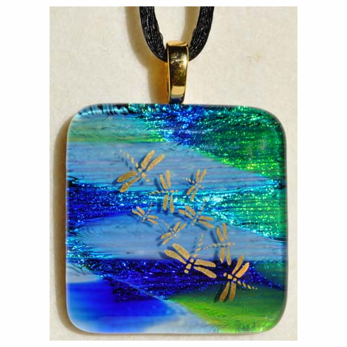 Golden Dragonflies Art Glass Pendant